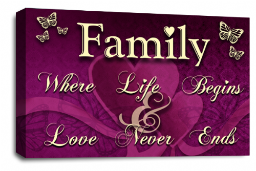 Family Quote Wall Art Picture Purple Cream Grey Love Print